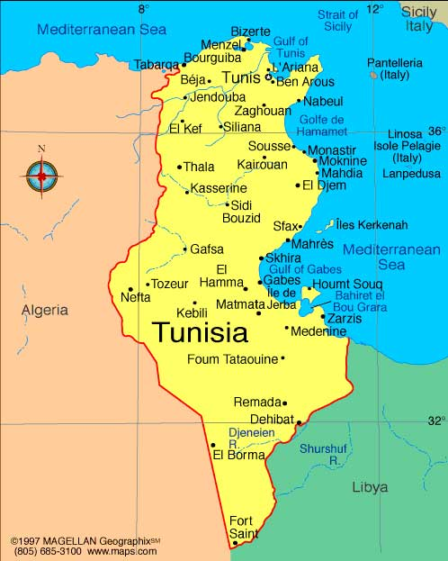 Tunisia Africa Business Directory And News - Tunisia country political map